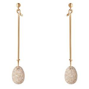 Mestergull Dew Drop Ørepynt i 18 K Rosé Gull med lyse brune diamanter GEORG JENSEN Vivianna Ørepynt