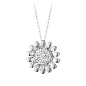 Mestergull Sunflower anheng i sølv med Diamanter GEORG JENSEN Sunflower Anheng