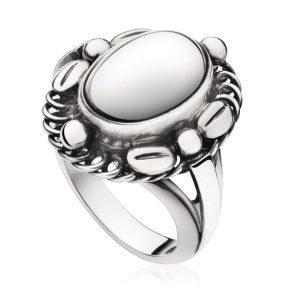 Mestergull Moonlight Ring i oksidert sølv med Grå månesten GEORG JENSEN Ring