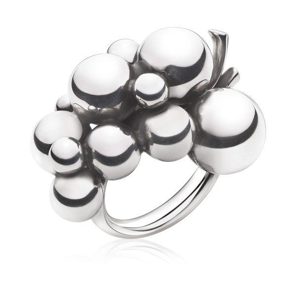 Mestergull Grape Ring i oksidert sølv GEORG JENSEN Grape Ring