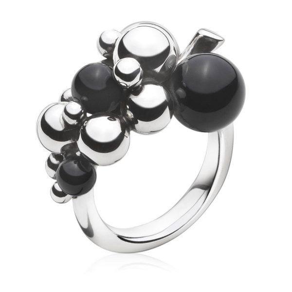 Mestergull Grape Ring i oksidert sølv med Onyx GEORG JENSEN Grape Ring