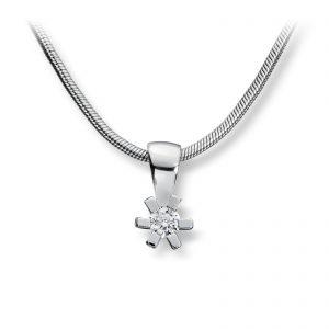 Mestergull Tidløst anheng i rhodinert sølv med hvit cubic zirkonia GID Anheng
