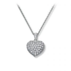 Mestergull Vakkert hjerteanheng i rhodinert sølv med hvite cubic zirkonia GID Anheng
