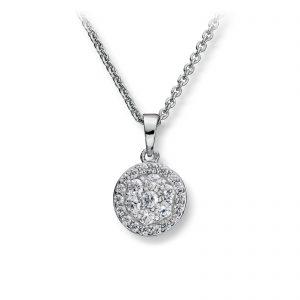 Mestergull Lekkert anheng i rhodinert sølv med hvite cubic zirkonia GID Anheng