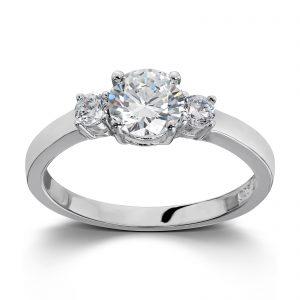 Mestergull Flott ring i rhodinert sølv med hvit cubic zirkonia GID Ring