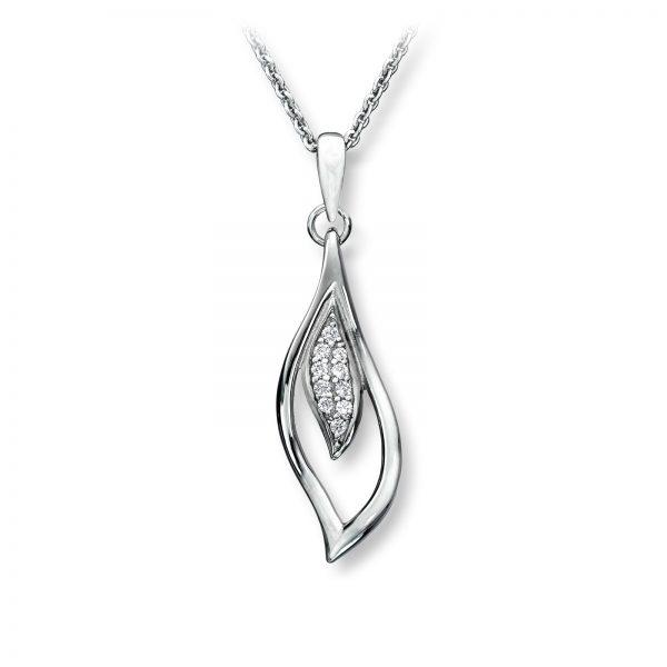 Mestergull Flott anheng i rhodinert sølv med hvite cubic zirkonia GID Anheng
