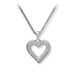 Mestergull Lekkert hjerteanheng i rhodinert sølv med hvite cubic zirkonia GID Anheng