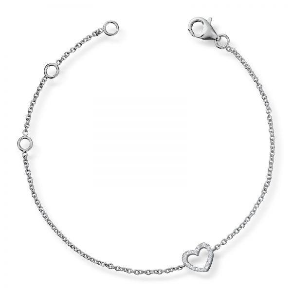 Mestergull Delikat armbånd i rhodinert sølv med hvite cubic zirkonia GID Armbånd