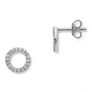 Mestergull Elegant ørepynt sirkel i rhodinert sølv med hvite cubic zirkonia GID Ørepynt