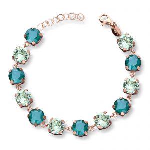 Mestergull Lekkert armbånd i rosèforgylt sølv med grønn mix av swarovski krystaller GID Armbånd