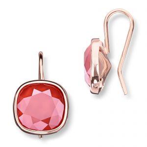 Mestergull Lekker ørepynt i rosèforgylt sølv med rød krystaller GID Ørepynt
