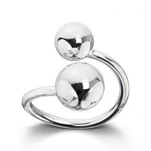 Mestergull Tøff ring i rhodinert sølv med sølv kuler GID Ring
