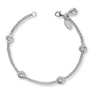 Mestergull Arnbånd i sølv med sariefattede hvite cubic zirkonia GID Armbånd