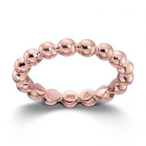 Mestergull Roseforgylt sølv ring med kuler. Denne er fin i kombinasjon med flere ringer fra GID Stackable. GID Stackable Ring