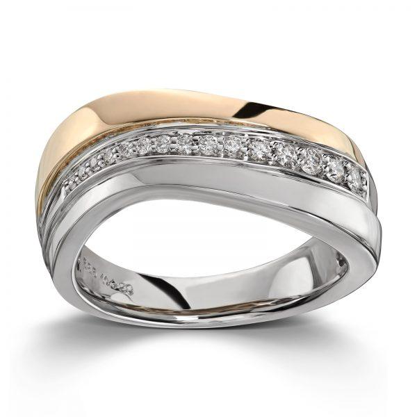 Mestergull Flott ring i tofarget gull med 15 diamanter 0,20 ct. HSI MG DIAMONDS Ring