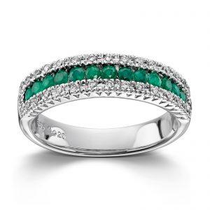Mestergull Tidløs ring i hvitt gull med diamanter og smaragder MG DIAMONDS Ring