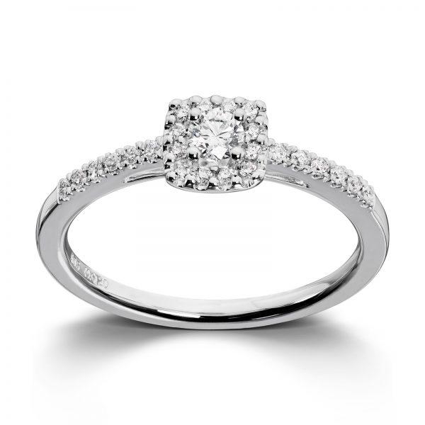Mestergull Romantisk ring i hvitt gull med diamanter MG DIAMONDS Ring