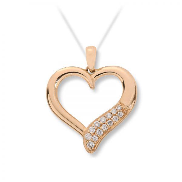 Mestergull Flott diamanthjerte i gult gull MG DIAMONDS Anheng