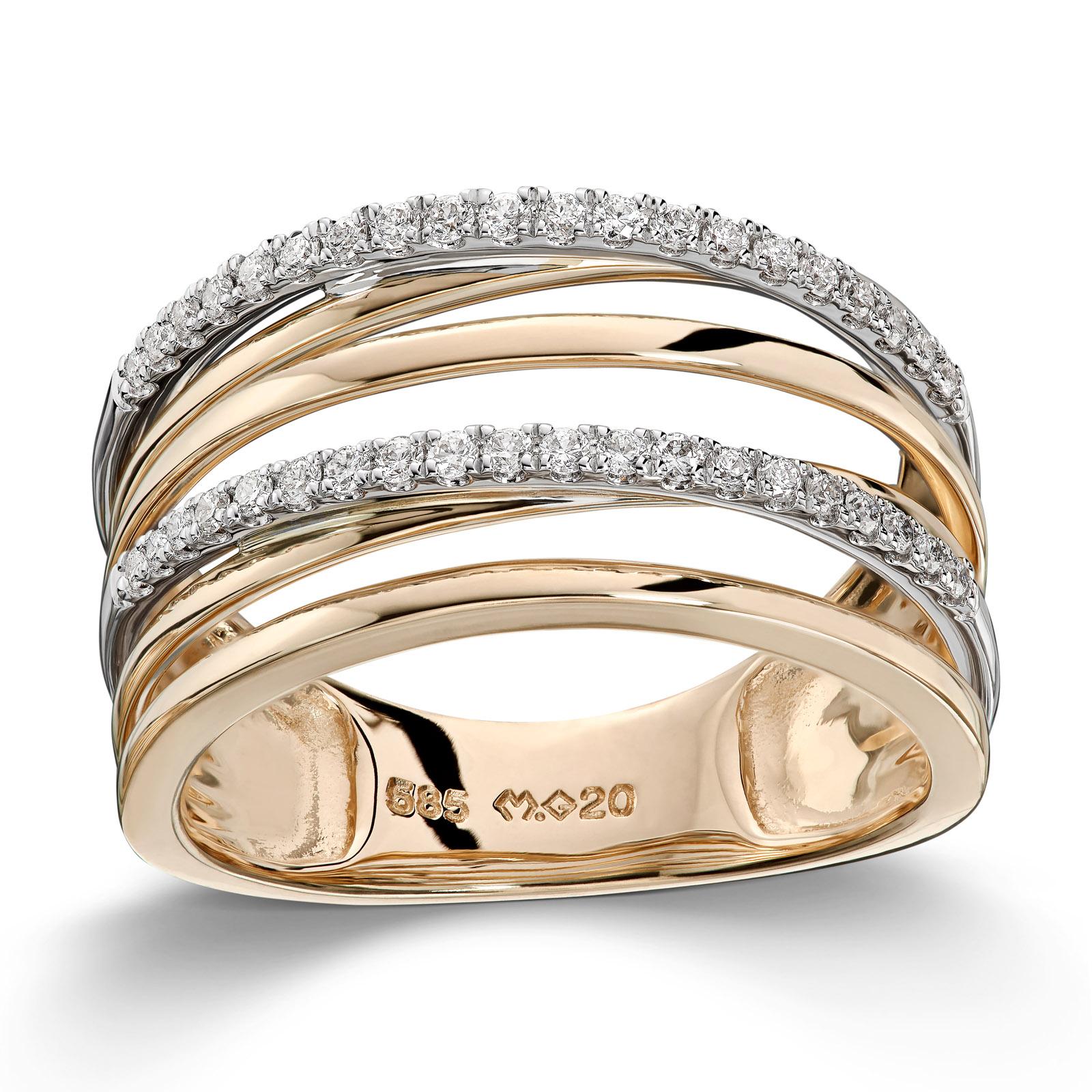 Mestergull Lekker ring i tofarget gull med diamanter MG DIAMONDS Ring