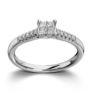 Mestergull Lekker ring i hvitt gull med diamanter i princess cut og brillianter MG DIAMONDS Ring