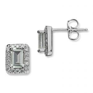 Mestergull Delikat ørepynt i hvitt gull med grønn prasiolitt og diamanter MG DIAMONDS Ørepynt