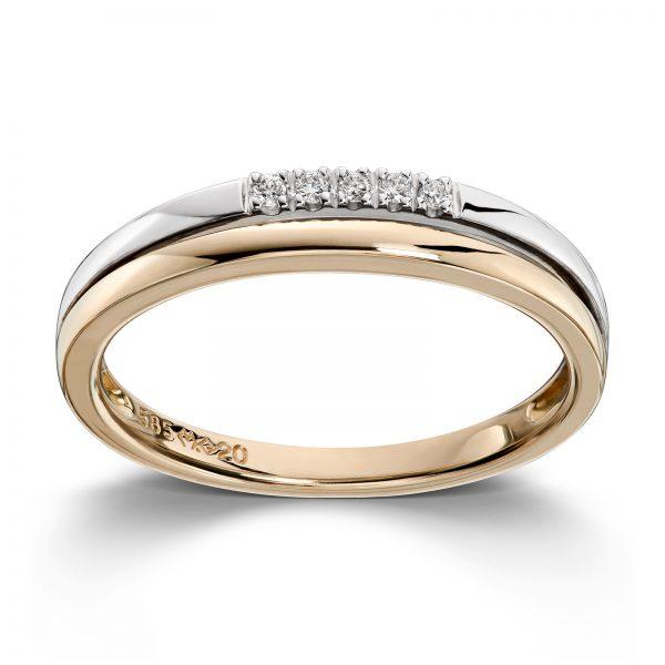Mestergull Flott ring i gult og hvitt gull med diamanter MG DIAMONDS Ring