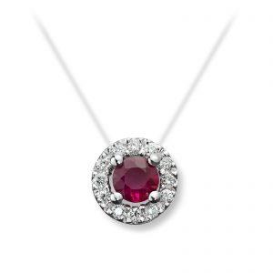 Mestergull Elegant anheng i hvitt gull med rubin og diamanter MG DIAMONDS Anheng