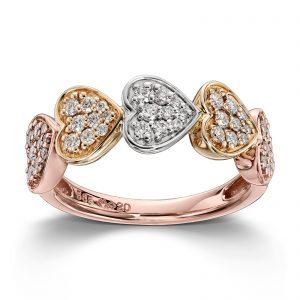Mestergull Lekker hjertering i rødt og hvitt gull med diamanter MG DIAMONDS Ring
