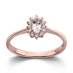 Mestergull Klassisk ring i rosè gull med diamanter og morganitt MG DIAMONDS Ring