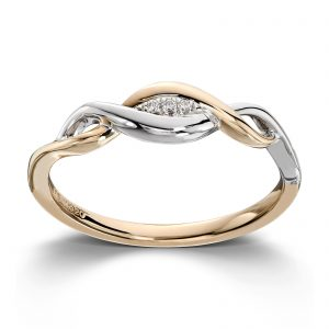 Mestergull Flott ring i gult og hvitt gull med diamanter MG DIAMONDS Ring
