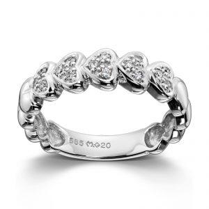 Mestergull Romantisk hjerte ring i hvitt gull med diamanter MG DIAMONDS Ring