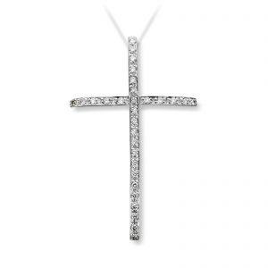 Mestergull Elegant diamantkors i hvitt gull MG DIAMONDS Anheng