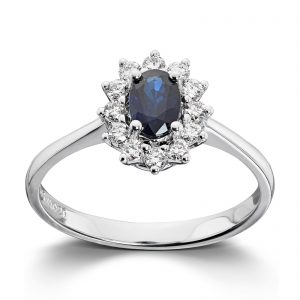 Mestergull Klassisk ring i hvitt gull med safir og diamanter MG DIAMONDS Ring