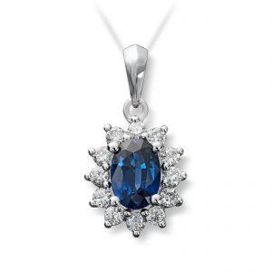 Mestergull Klassisk anheng i hvitt gull med safir og diamanter MG DIAMONDS Anheng