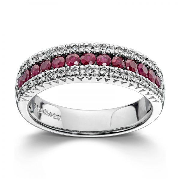 Mestergull Stram og elegant ring i hvitt gull med rubiner og diamanter MG DIAMONDS Ring