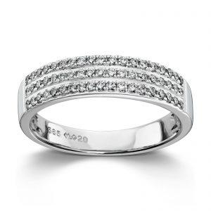 Mestergull Stram og elegant ring i hvitt gull med diamanter MG DIAMONDS Ring