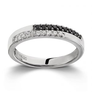 Mestergull Elegant ring i hvitt gull med hvite og sorte diamanter MG DIAMONDS Ring