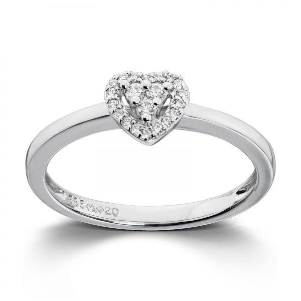 Mestergull Tidløs hjertering i hvitt gull med diamanter MG DIAMONDS Ring