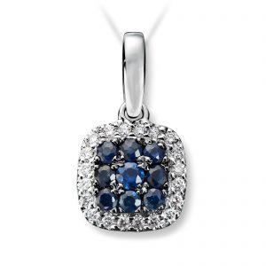 Mestergull Vakkert anheng i hvitt gull med diamanter og safir MG DIAMONDS Anheng