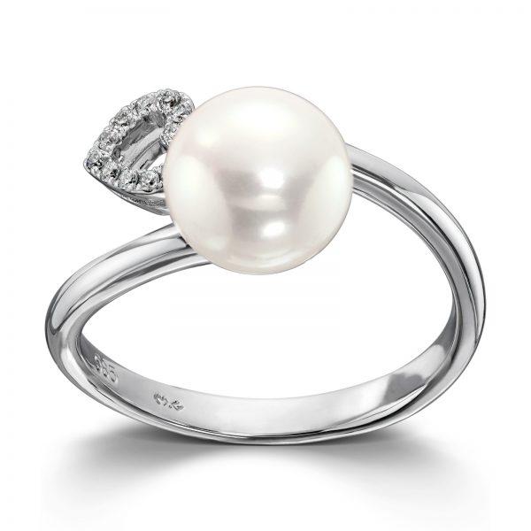 Mestergull Flott ring i hvitt gull med diamanter og ferskvannsperle MG DIAMONDS Ring