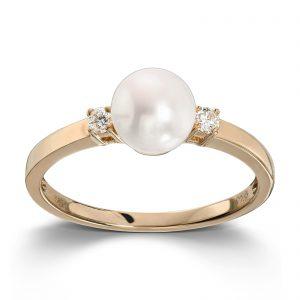 Mestergull Flott ring i gult gull med diamanter og ferskvannsperle MG DIAMONDS Ring
