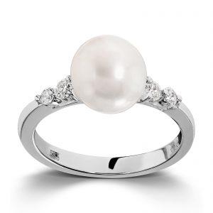 Mestergull Elegant ring i hvitt gull med diamanter og ferskvannsperler MG DIAMONDS Ring
