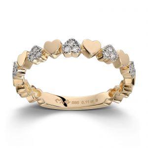 Mestergull Flott hjertering i gult gull med diamanter MG DIAMONDS Ring