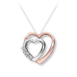Mestergull Elegant hjerteanheng i rødt og hvitt gull med diamanter MG DIAMONDS Anheng