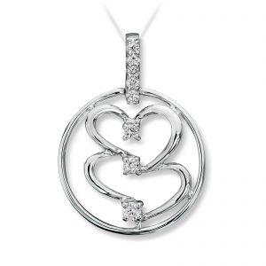 Mestergull Tøft hjerteanheng i hvitt gull med diamanter MESTERGULL Anheng