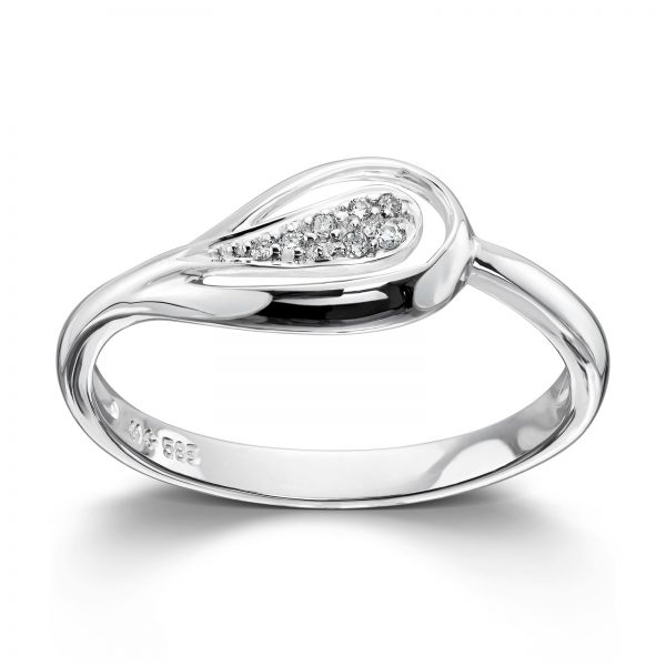Mestergull Flott ring i hvitt gull med diamanter MG DIAMONDS Ring