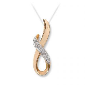 Mestergull Vakkert anheng i gult gull med diamanter MG DIAMONDS Anheng