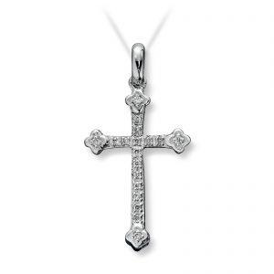 Mestergull Elegant anheng kors i hvitt gull med diamanter MG DIAMONDS Anheng
