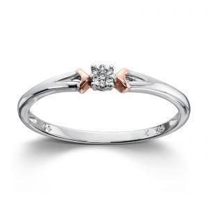 Mestergull Søt ring i hvitt gull med diamanter og detaljer i rosègull MG DIAMONDS Ring