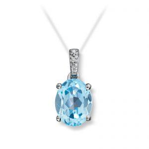 Mestergull Flott anheng i hvitt gull med diamanter og blå topas MESTERGULL Anheng